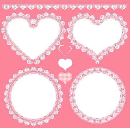 heart lace set background Vectores