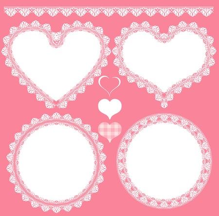 white frame love heart: heart lace set background Illustration