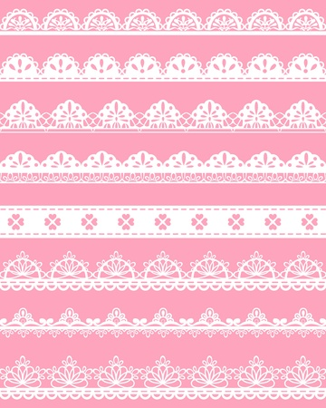 Lace straight Seamless Borders vector Vector
