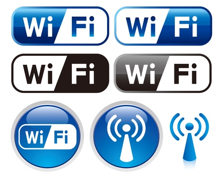 zone: wifi teken icon set Stock Illustratie