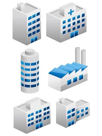 palazzo: Architetture costruzione set icone. Vettoriali