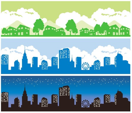 town and city vector illustration Stock Vector - 12321073