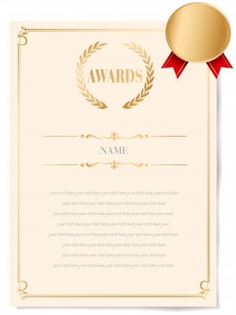 Illustration of a certificate. Award of Excellence with golden ribbon. Vector