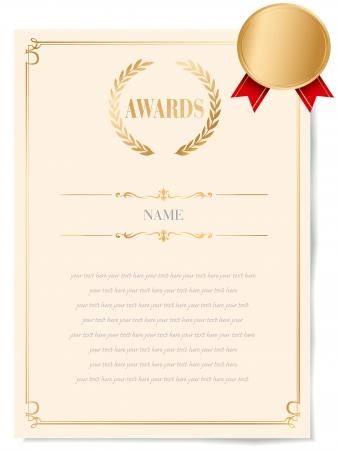 kiválóság: Illusztráció egy tanúsítványt. Award of Excellence arany szalaggal.