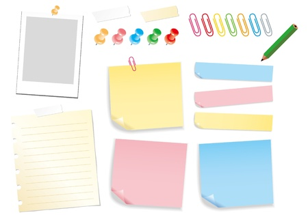 note paper pin post it clip pencil