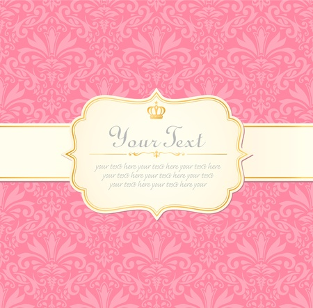 saludo: invitaci�n de la vendimia etiqueta de fotograma rosa pastel Vectores