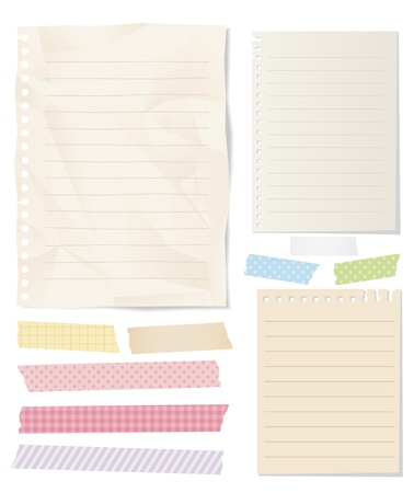 sticky paper: masking tape note paper isolated