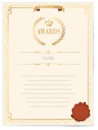 certificat diplome: Illustration d'un prix d'excellence avec certificat de ruban d'or