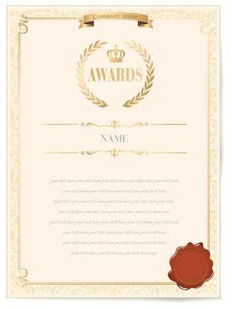 certificate seal: Illustration of a certificate  Award of Excellence with golden ribbon