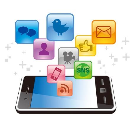 interaccion social: Concepto de Social Media colecci�n de iconos