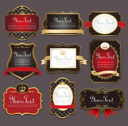 corona navidad: vector de conjunto negro de marcos dorados etiquetas Vectores
