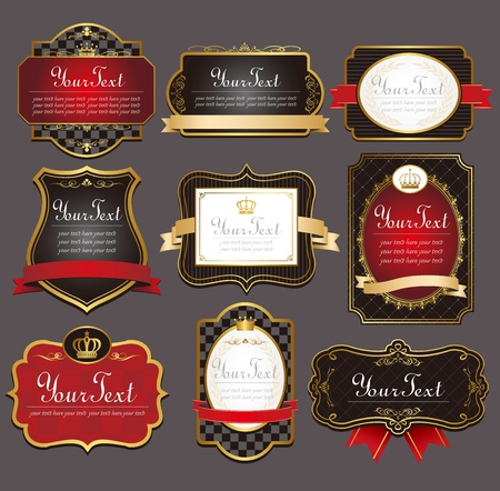vector set  black gold-framed labels Vector