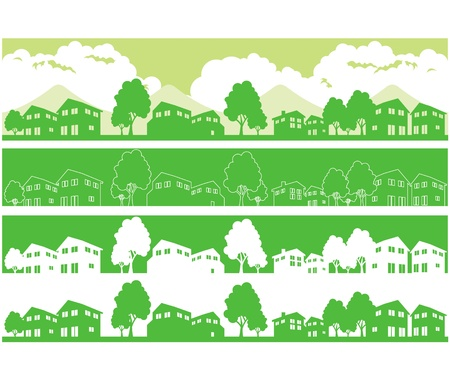 eco building: town and city illustration vector Illustration