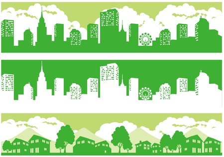 town and city illustration vector Vector