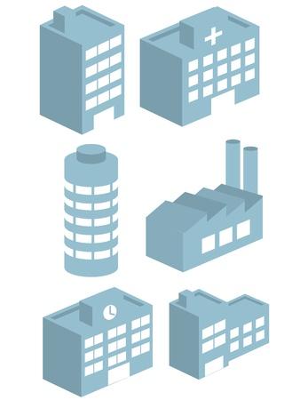 3D をベクトルの建物ベクトル コレクション セット