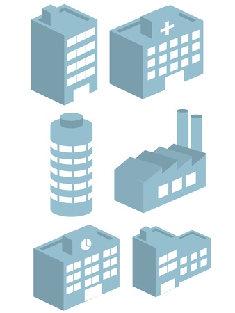 factory icon: Buildings vector collection set vector 3D