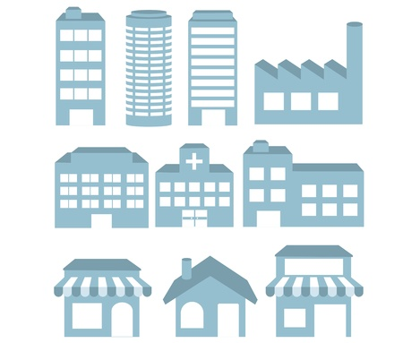 residential neighborhood: Ilustraci�n - iconos conjunto de vectores de construcci�n de arquitecturas de la imagen