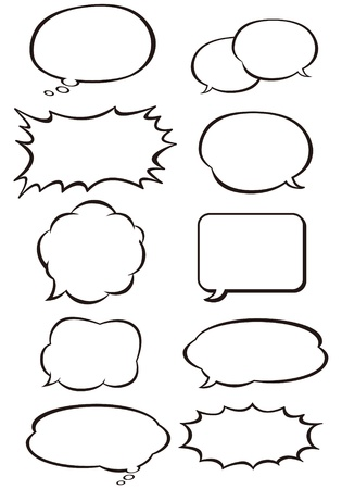 think out of box: Collection of different empty vector shapes for comics or web. isolated Illustration