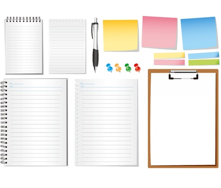 linker: paper notes and memo stickers - vector illustration , all elements separated