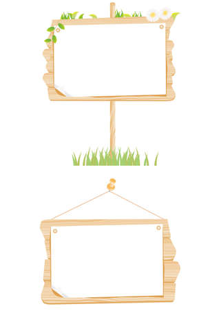 Set wooden sign with paper vector Stock Vector - 12483176