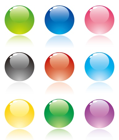 blue sphere: Set of translucent crystal ball, vector collection
