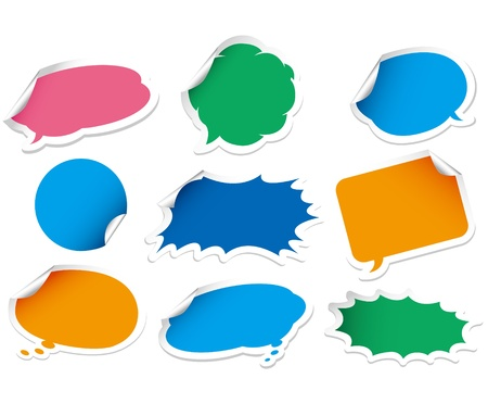 verified: Vector speech bubble. Sticker set.