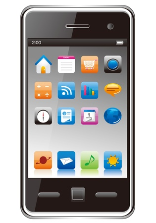 mp3 player: Touch screen smart phone with icons vector