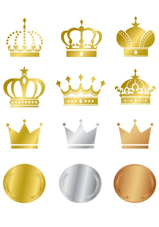 Gold crown icons set  Illustration