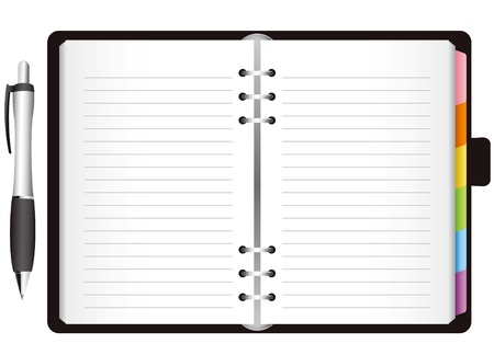 Illustration - diary with colored tabs  Vector