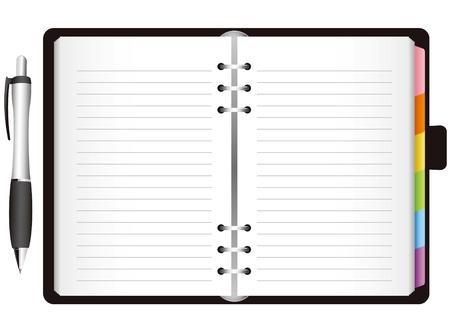 Illustratie - dagboek met gekleurde tabs