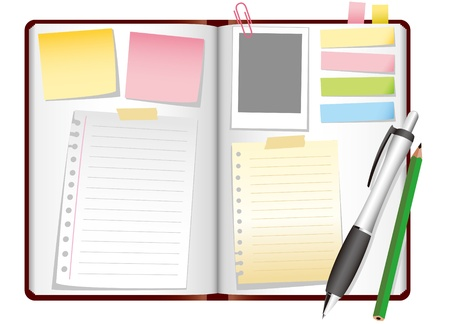 Background of opened diary on a table Vector