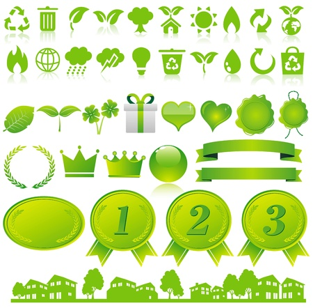 car garden: green eco icons set