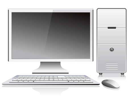 workstation: white desktop pc vector isolated