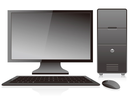 black desktop pc vector isolated