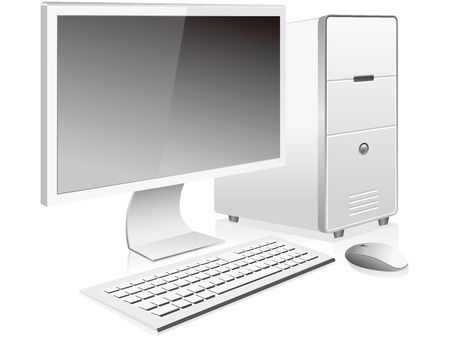 white desktop pc vector isolated Stock Vector - 12839846