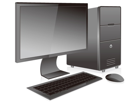 pc case: black desktop pc vector isolated Illustration