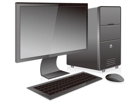 computer case: black desktop pc vector isolated Illustration