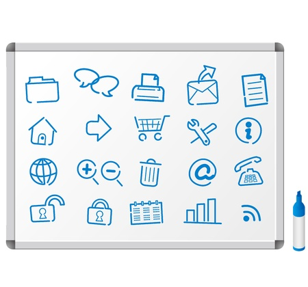 Sketch icons on white board Vector
