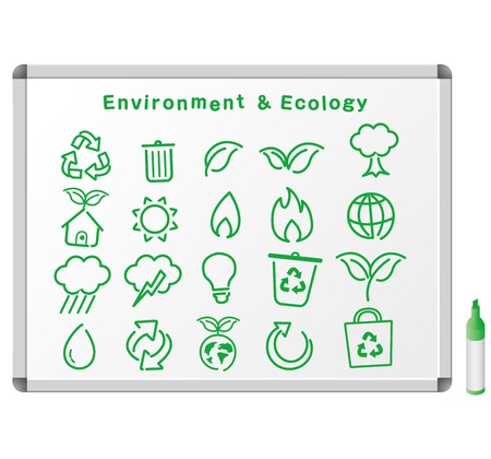 house warming: Sketch ecology icons on white board
