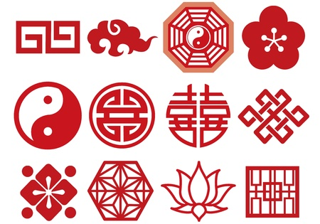 lotus flower: Chinese Asian icons set vector