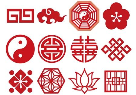 flor de loto: Iconos chinos asi�ticos conjunto de vectores Vectores