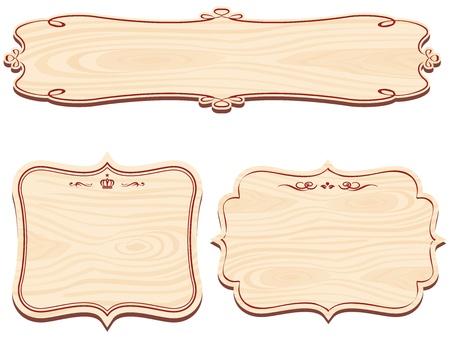Set of Decorative Wooden Sign vector Illustration