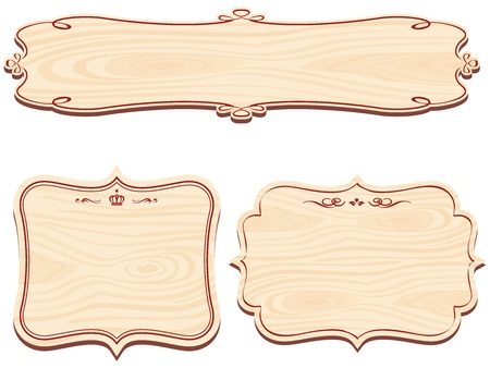 west: Set of Decorative Wooden Sign vector Illustration