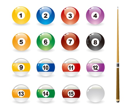 6 7: Isolated Colored Pool Balls & Pool cue Illustration