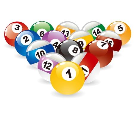 pool ball: Piscina de Bolas de colores aislados y Taco Vectores