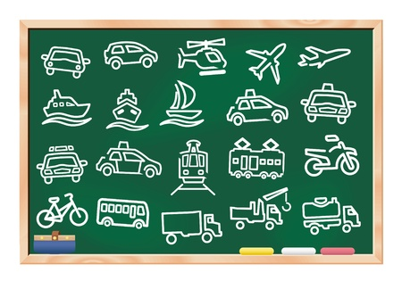 transportation icon drawings on blackboard vector set collection Vector
