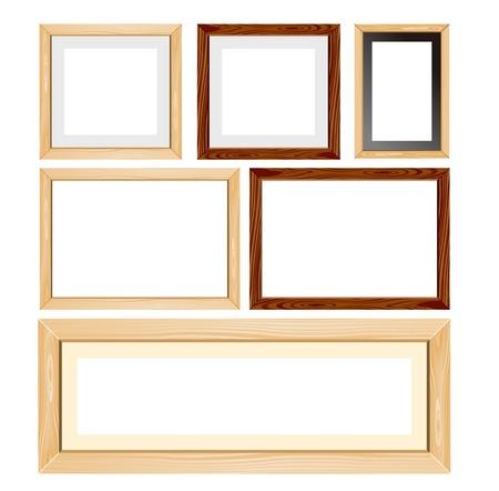 marco madera: foto-marco de marcos de madera conjunto de vectores