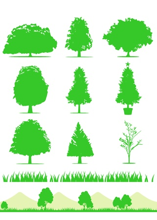 landscaped: tree icon set vector