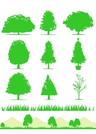 tree icon set vector Vector
