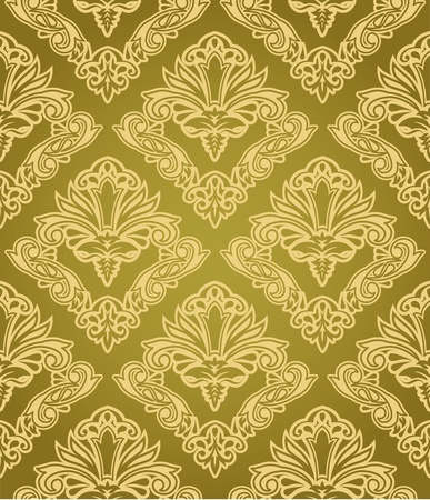 gold leafs: Seamless damask pattern